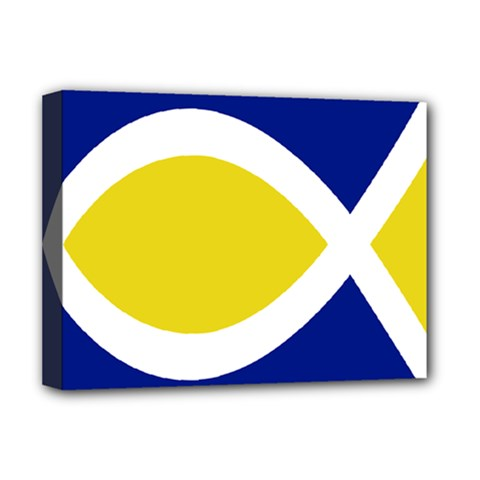 Flag Blue Yellow White Deluxe Canvas 16  X 12   by Jojostore