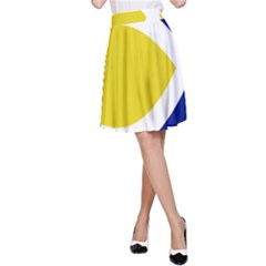 Flag Blue Yellow White A-Line Skirt