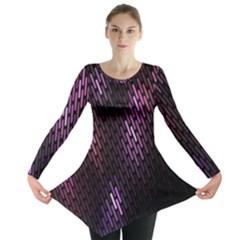 Fabulous Purple Pattern Wallpaper Long Sleeve Tunic  by Jojostore