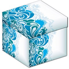 Garphic Leaf Flower Blue Storage Stool 12   by Jojostore