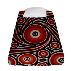 Circle Flower Art Aboriginal Brown Fitted Sheet (single Size) by Jojostore