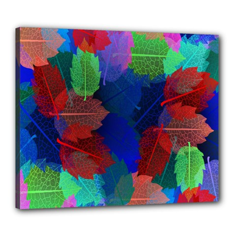 Floral Flower Rainbow Color Canvas 24  X 20  by Jojostore