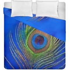 Blue Peacock Feather Duvet Cover Double Side (king Size) by Amaryn4rt