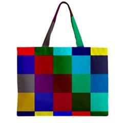 Chessboard Multicolored Zipper Mini Tote Bag by Jojostore