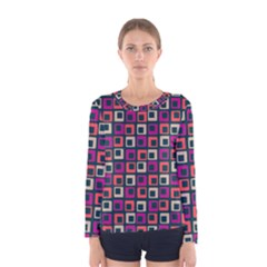 Abstract Squares Women s Long Sleeve Tee