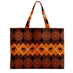 African Pattern Deer Orange Zipper Mini Tote Bag by Jojostore