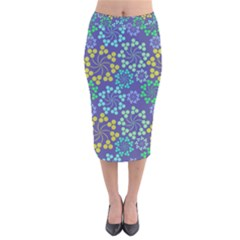 Color Variationssparkles Pattern Floral Flower Purple Velvet Midi Pencil Skirt by Jojostore