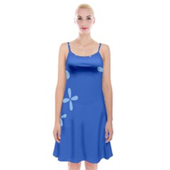 Flower Floral Blue Spaghetti Strap Velvet Dress by Jojostore