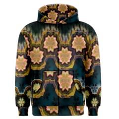 Ornate Floral Textile Men s Zipper Hoodie by Jojostore