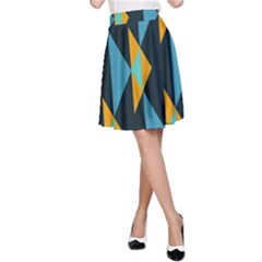 Yellow blue triangles pattern                                                        A-line Skirt