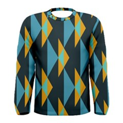 Yellow Blue Triangles Pattern                                                        Men Long Sleeve T Shirt