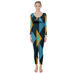 Yellow Blue Triangles Pattern                                                         Long Sleeve Catsuit by LalyLauraFLM