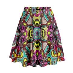 Traitional Floral Purple High Waist Skirt by Brittlevirginclothing