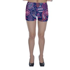 Colorful Bohemian Purple Leaves Skinny Shorts