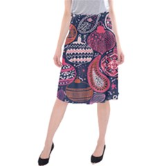 Colorful Bohemian Purple Leaves Midi Beach Skirt by Brittlevirginclothing