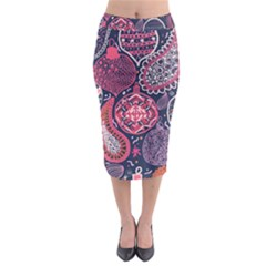 Colorful Bohemian Purple Leaves Midi Pencil Skirt by Brittlevirginclothing