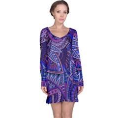 Abstract Electric Blue Hippie Vector  Long Sleeve Nightdress