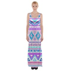 Tribal Pastel Hipster  Maxi Thigh Split Dress by Brittlevirginclothing