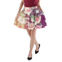 Pink Pastel Roses A Line Pocket Skirt by Brittlevirginclothing