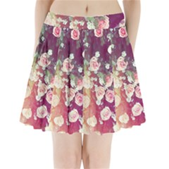 Pink Pastel Roses Pleated Mini Skirt by Brittlevirginclothing