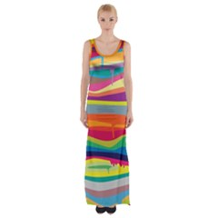 Melting Paint Maxi Thigh Split Dress by Brittlevirginclothing