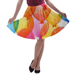 Rainbow Balloon A Line Skater Skirt by Brittlevirginclothing