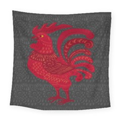 Red Fire Chicken Year Square Tapestry (large) by Valentinaart