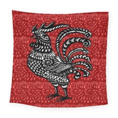 Year Of The Rooster Square Tapestry (large) by Valentinaart
