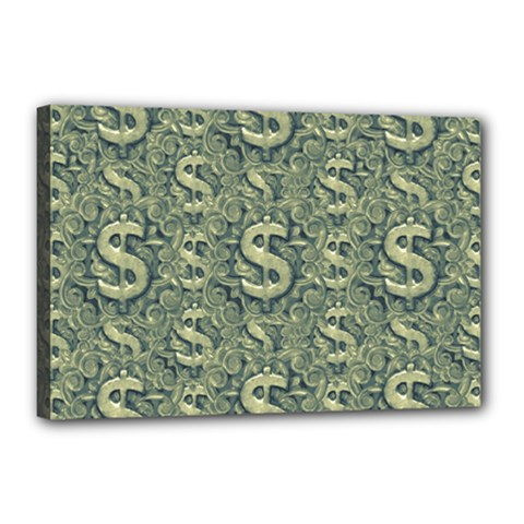 Money Symbol Ornament Canvas 18  X 12  by dflcprintsclothing