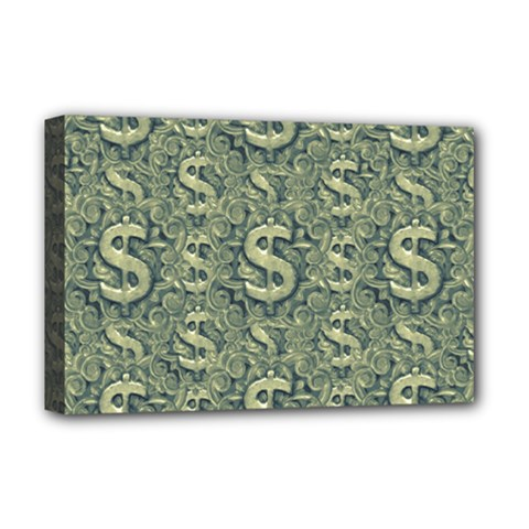 Money Symbol Ornament Deluxe Canvas 18  X 12   by dflcprintsclothing