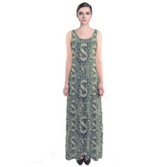 Money Symbol Ornament Sleeveless Maxi Dress
