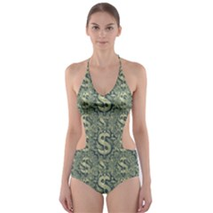 Money Symbol Ornament Cut Out One Piece Swimsuit