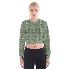 Money Symbol Ornament Women s Cropped Sweatshirt