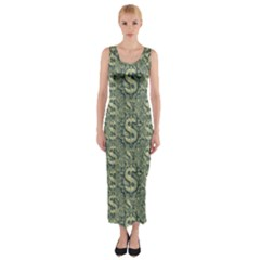 Money Symbol Ornament Fitted Maxi Dress