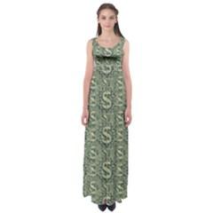 Money Symbol Ornament Empire Waist Maxi Dress