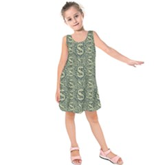 Money Symbol Ornament Kids  Sleeveless Dress by dflcprintsclothing