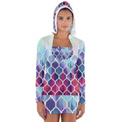 Purple Moroccan Mosaic Women s Long Sleeve Hooded T Shirt by Brittlevirginclothing