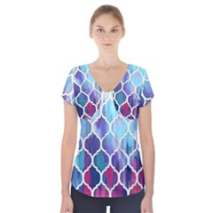 Purple moroccan mosaic Short Sleeve Front Detail Top by Brittlevirginclothing