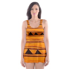 Warm Tribal Skater Dress Swimsuit by Brittlevirginclothing