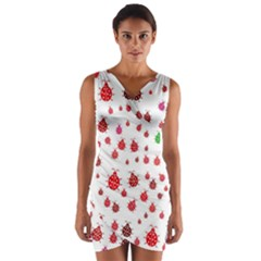 Beetle Animals Red Green Fly Wrap Front Bodycon Dress