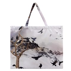 Birds Crows Black Ravens Wing Zipper Large Tote Bag by Amaryn4rt