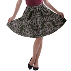 Line Geometry Pattern Geometric A-line Skater Skirt by Amaryn4rt