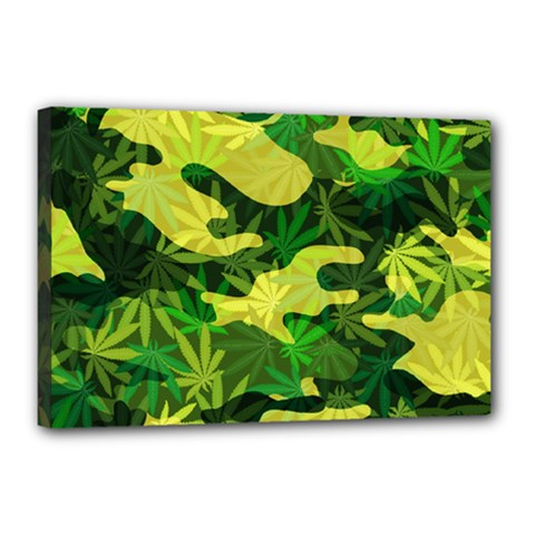 Marijuana Camouflage Cannabis Drug Canvas 18  X 12
