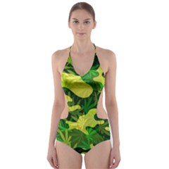 Marijuana Camouflage Cannabis Drug Cut-Out One Piece Swimsuit by Amaryn4rt
