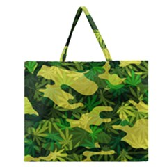 Marijuana Camouflage Cannabis Drug Zipper Large Tote Bag