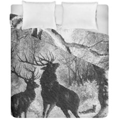 Stag Deer Forest Winter Christmas Duvet Cover Double Side (california King Size) by Amaryn4rt