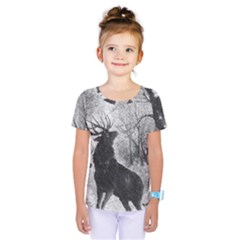 Stag Deer Forest Winter Christmas Kids  One Piece Tee by Amaryn4rt