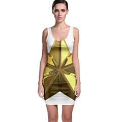 Stars Gold Color Transparency Sleeveless Bodycon Dress