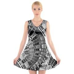 Semi Circles Abstract Geometric Modern Art V Neck Sleeveless Skater Dress by CrypticFragmentsDesign