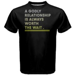 A godly relationship is always worth the wait - Men s Cotton Tee by FunnySaying